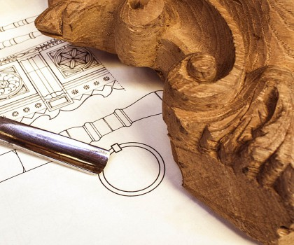 wood carving with work tools,isolated